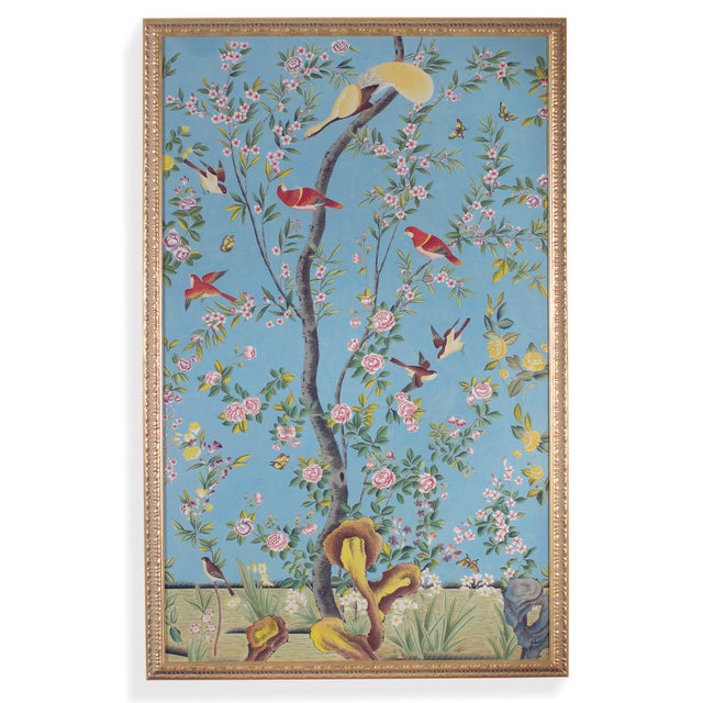 This is a panel painting by Chelsea House Inc. The piece depicts a botanical scene with small birds, rendered in...