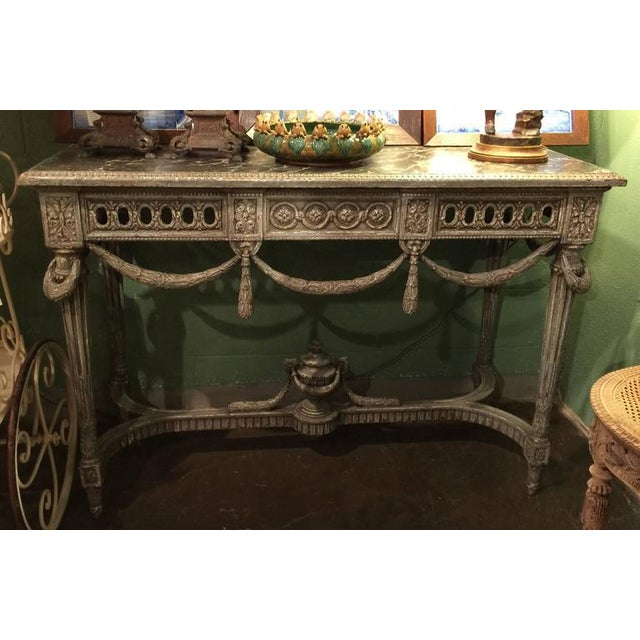 19th Century Louis XVI Carved Painted Faux Marble Top Consoles - a Pair For Sale - Image 4 of 9