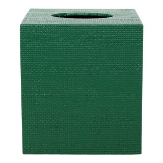Green Linen Covered Tissue Box Cover For Sale