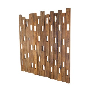 Antique Wood Fence Post Assemblage, Modern Abstract Screen For Sale