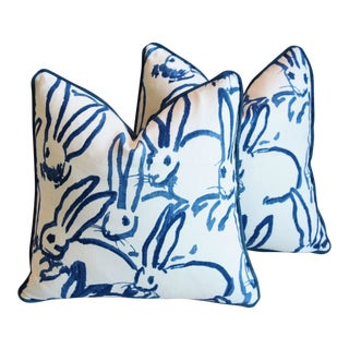 "Designer Groundworks Bunny Hutch Feather/Down Pillows 17"" Square - Pair For Sale"