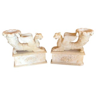 19th Century Alabaster Seated Sphinxes on Pedestals Bookends or Statues - a Pair For Sale