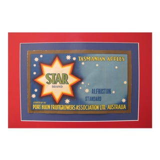 1920's Original Vintage Australian Art Deco Apples Crate Label - Star Brand - Tasmanian Apples For Sale