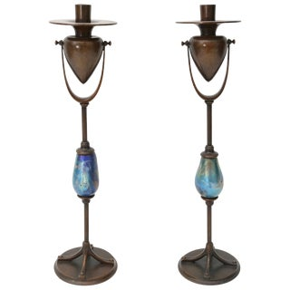 Bronze and Favrile Glass Candle Holders by Louis C. Tiffany Furnaces Inc. - a Pair For Sale