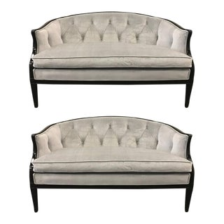 Pair of Regency Style Tufted Back Sofas For Sale