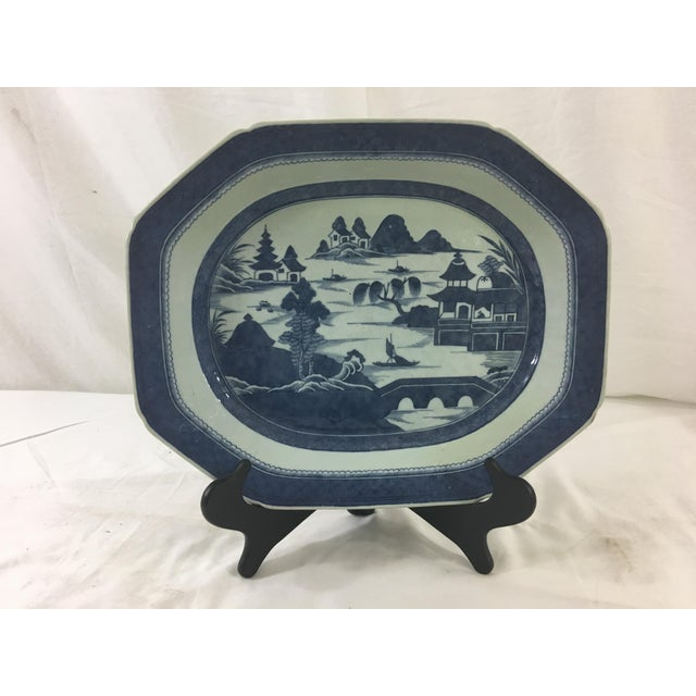 Large Antique Blue and White Canton Platter For Sale - Image 4 of 4