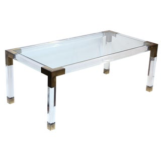 French Lucite and Brass Coffee Table For Sale