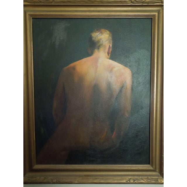 Wood Important Mid-Century Original Painting of a Man by Hollywood Portrait Artist For Sale - Image 7 of 8