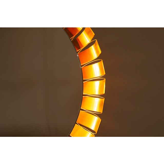 Large Mid Century Bronze Frame Back Lit Mirror For Sale - Image 10 of 11
