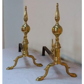 Antique American Brass Andirons - A Pair Preview