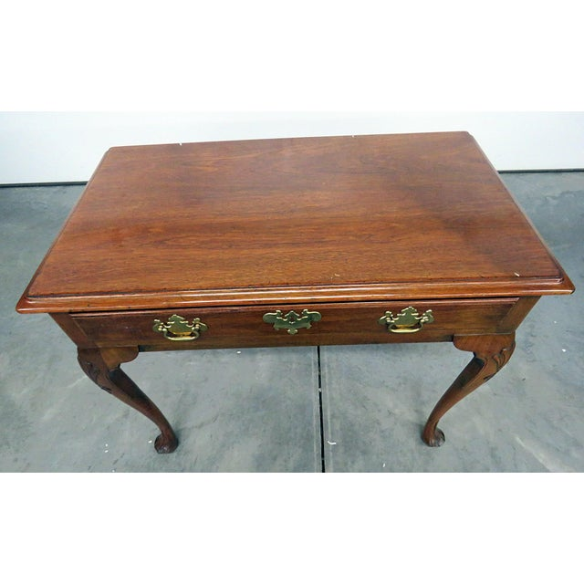 Kittinger Queen Anne style distressed finish writing desk with 1 drawer.