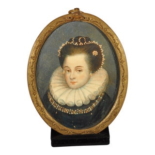 Fine 19th Century Portrait Miniature of a Young Queen Elizabeth I For Sale
