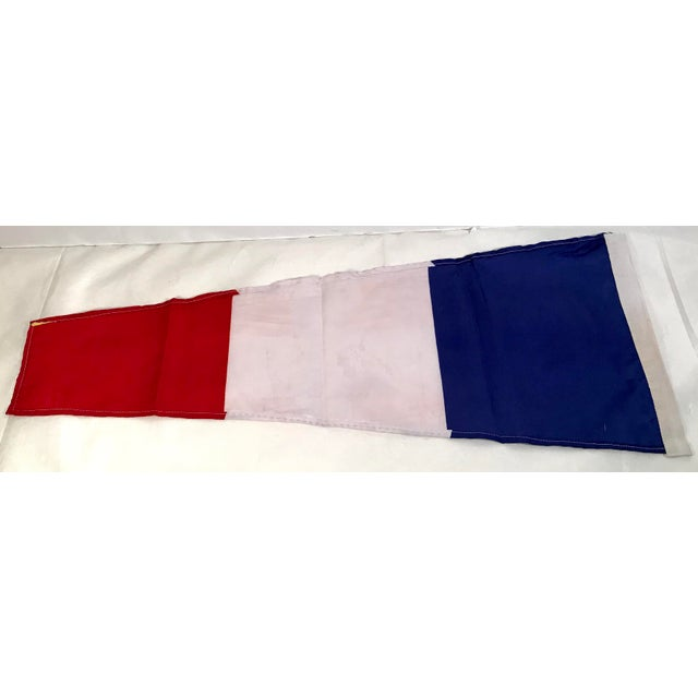 Americana Vintage Nautical Blue, White & Red Ship Flag For Sale - Image 3 of 5