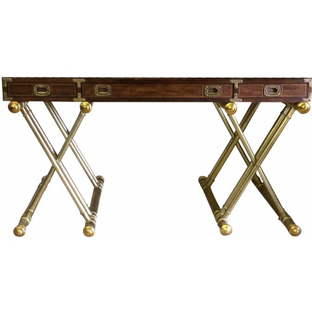Mid-Century Modern 1970s Drexel Oxford Square Campaign X-Base Desk Console For Sale - Image 3 of 3