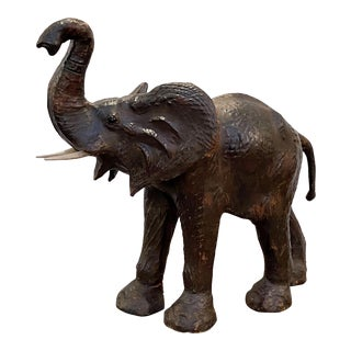 Large Leather Model of an Elephant from England For Sale
