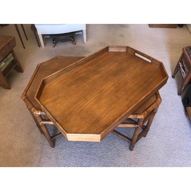 Brown McGuire Bamboo & Fruitwood Coffee Table For Sale - Image 8 of 9