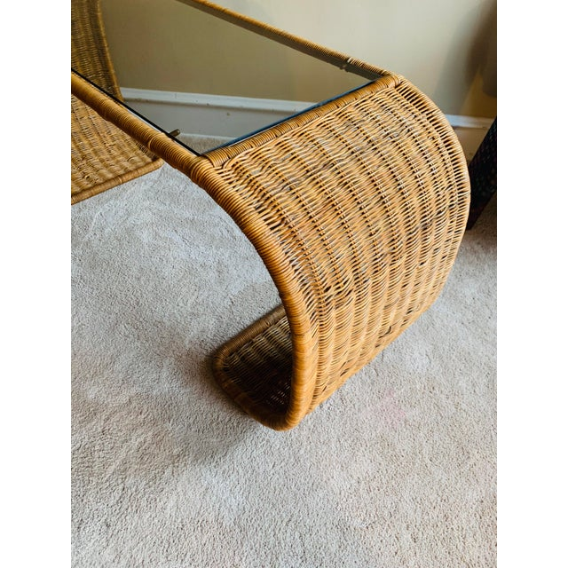 Vintage Rattan Scroll Console Table For Sale - Image 6 of 10