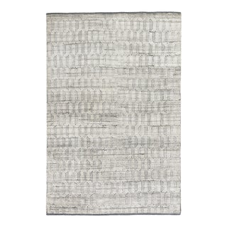 Exquisite Rugs Carlisle Hand Knotted Wool Gray & Ivory - 6'x9' For Sale