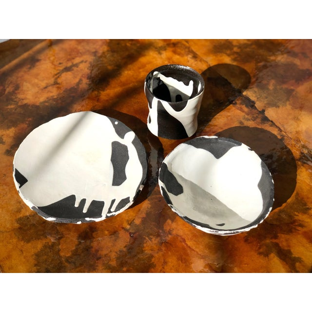 Studio Ceramic Black and White Dishware Set - 3 Piece Set For Sale - Image 4 of 9