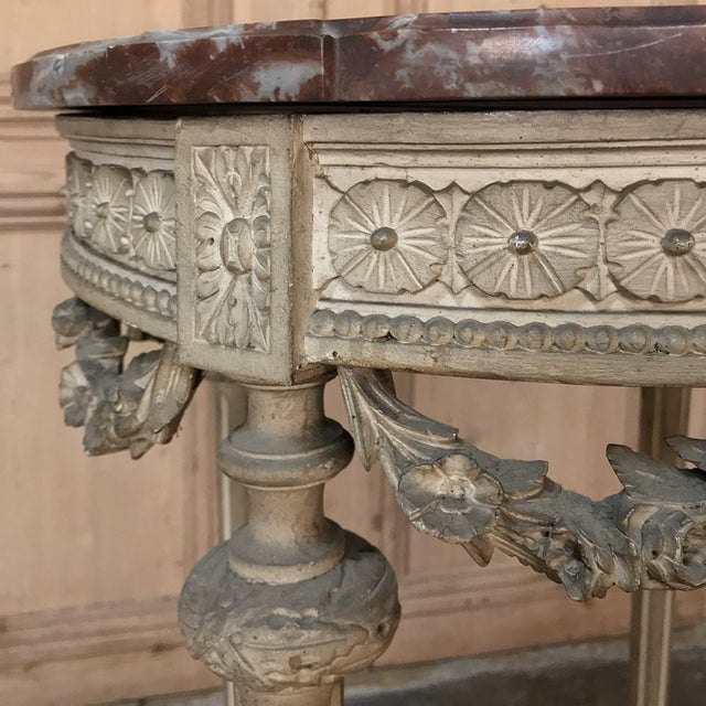 Gray 19th Century French Louis XVI Painted Marble Top Lamp Table ~ Gueridon For Sale - Image 8 of 12