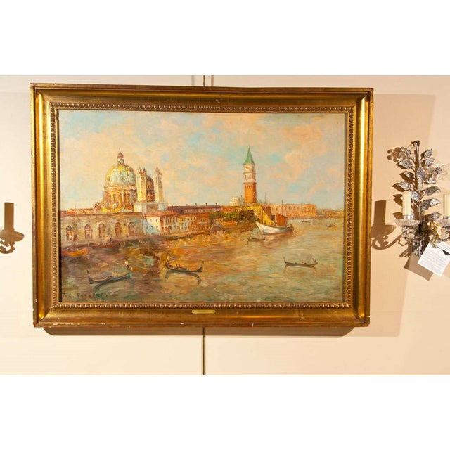 Oil Painting of Venice Harbor by T.L. Novaretti - Image 3 of 9