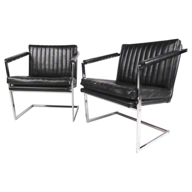 Pair of Vintage Modern Cantilevered Side Chairs For Sale - Image 9 of 9