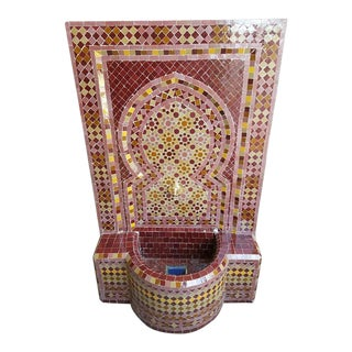 Moroccan Burgundy Multicolor Tile Fountain For Sale