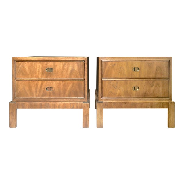 Drexel Maple & Brass Campaign Nightstands - a Pair For Sale
