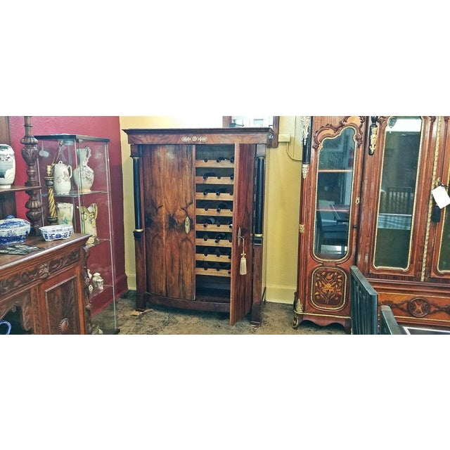 Veneer Early 19th Century French Empire Armoire Wine Cabinet For Sale - Image 7 of 8