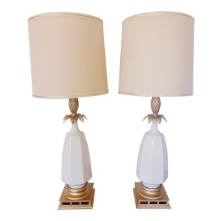 1960s Ceramic and Gold Gilt Pineapple Lamps - Set of 4 For Sale