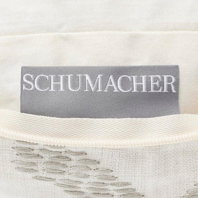 Fabric Schumacher Nanjing Square Smoke Grey 18x18 Pillow - Pair For Sale - Image 7 of 8