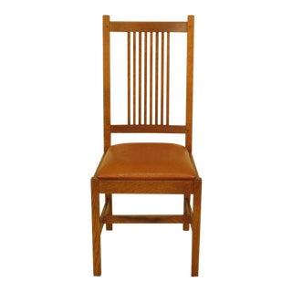 1990s Vintage Stickley Mission Oak Desk or Side Chair For Sale