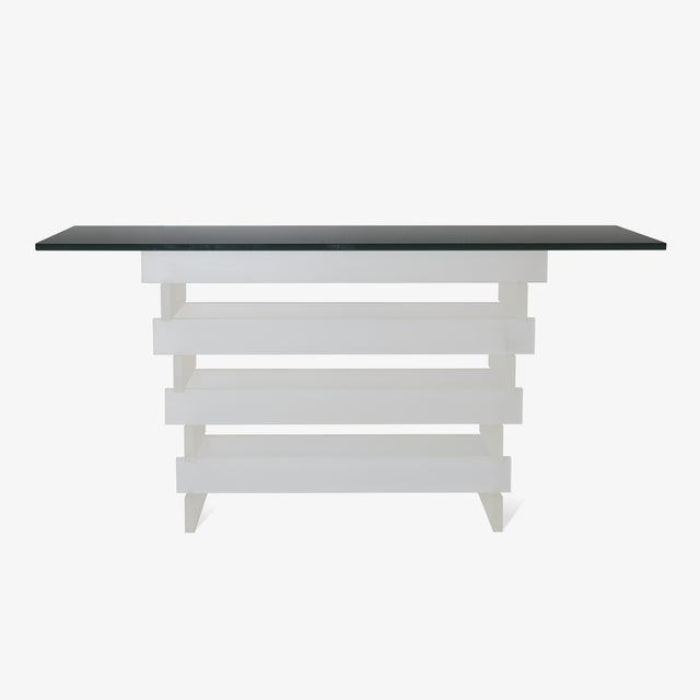 Mid-Century Modern Stacked Frosted Lucite & Smoked Glass Console For Sale - Image 3 of 6