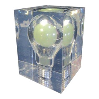 "1970s French Pop Art ""Bulb"" Resin Cube Fluorescent Green Light Designed by Pierre Giraudon For Sale"