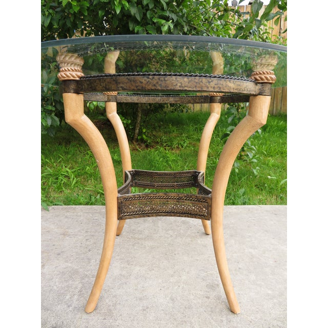 Late 20th Century Vintage Hollywood Regency Faux Horn Antler Glass Side Table For Sale - Image 5 of 11