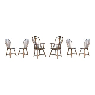 Set of Six Danish Windsor Farm Dining Chairs, Early to Mid-1900s For Sale