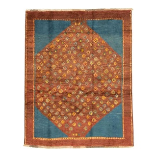 1970 Shiraz Gabbeh, Blue and Brown Hand Made Wool Rug- 4′6″ × 6′10″ For Sale