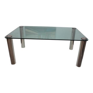 Pace Chrome Leg & Glass Top Dining Table For Sale