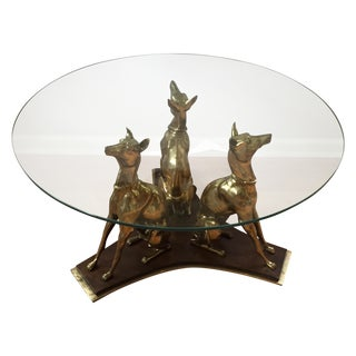Brass Greyhound Dogs Cocktail Table