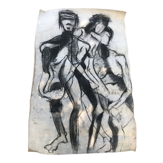 1950s Vintage Chalk Man & Woman Nudes Large Abstract Drawing For Sale