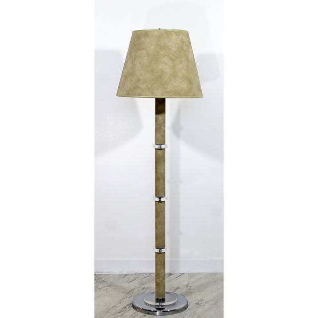 1970s Mid-Century Modern Suede Lucite Chrome Floor Lamp For Sale - Image 9 of 9