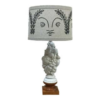 "Hand Painted ""Zeus"" Shade by Rf. Alvarez With Vintage Italian Blanc De Chine Base Table Lamp For Sale"