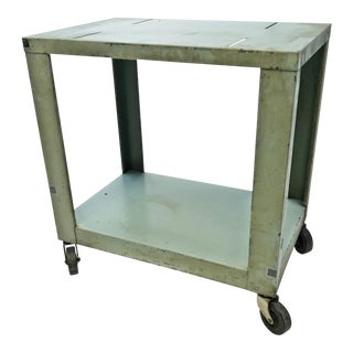 Vintage Industrial Green Metal Two Tier Rolling Cart