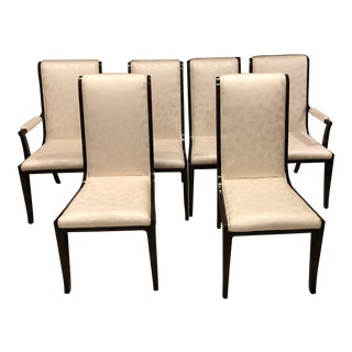 Bernhard Rohne for Mastercraft Carpatian Elm and Brass Dining Chairs - Set of 6 For Sale