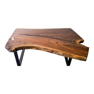 Large Walnut Coffee Table With Brass Bowtie