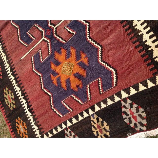 """Vintage Turkish Kilim Rug - 4'7"""" X 6'6"""" - Image 6 of 7"""
