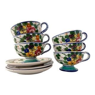 Vintage Italian Ceramic Hand Painted Botanical Tea Cup Set - 9 Pieces For Sale