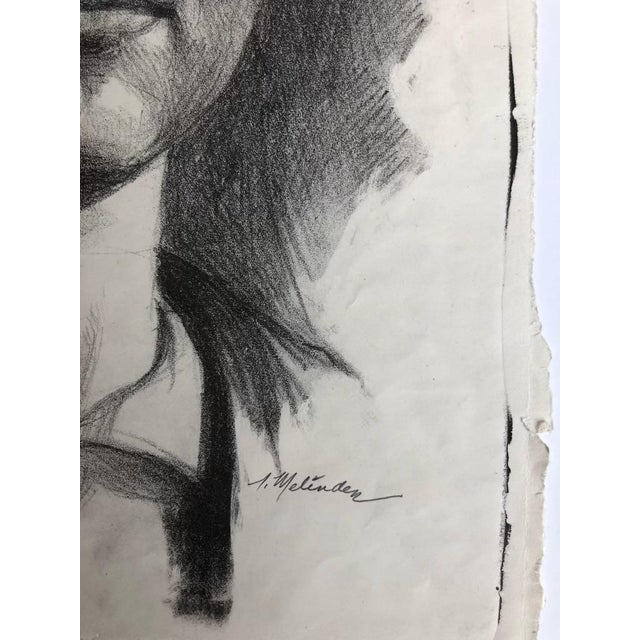 Figurative Mid 20th Century Compressed Charcoal Portrait Drawing For Sale - Image 3 of 3