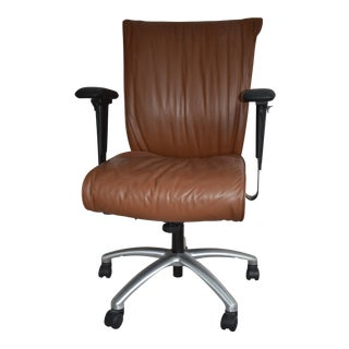 Modern Mid Century Brown Leather Office Chair For Sale