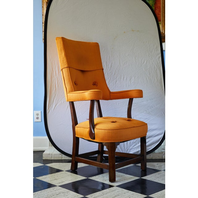 Early 20th Century Mahogany Arm Chair in Vintage Orange Upholstery For Sale - Image 4 of 13